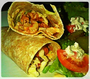 Vegetarian Wrap with Coleslaw and Fry's Strips