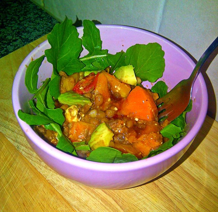 Healthy lentil and butternut warm salad